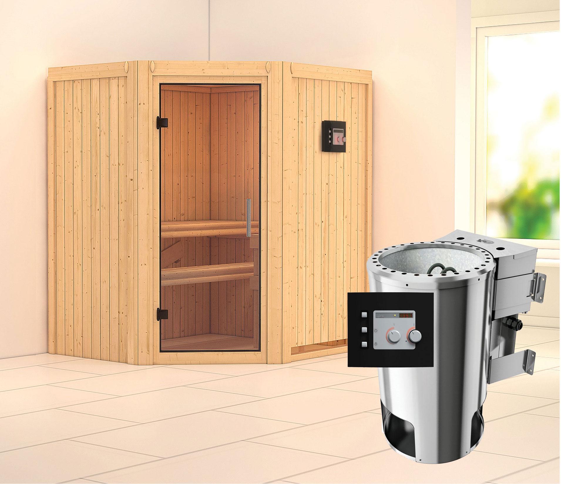 Karibu Sauna Tonja 68mm 230v Bio Saunaofen 3 6kw Extern Klarglastur