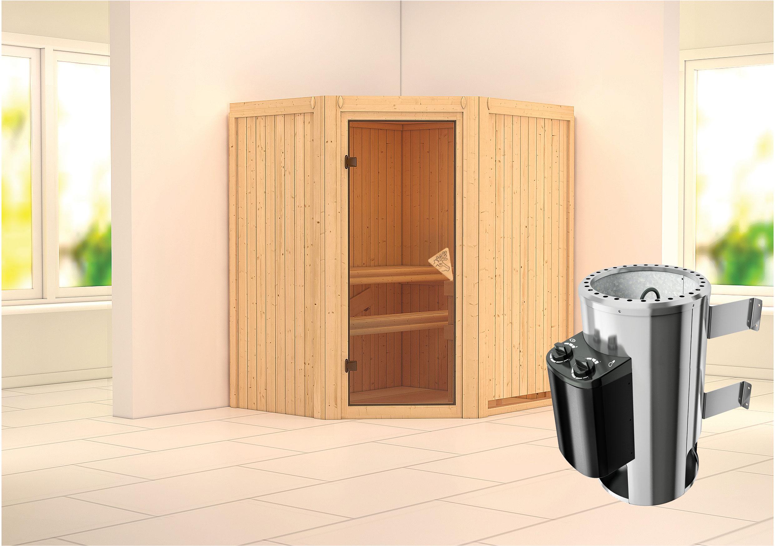 Karibu Sauna Tonja 68mm 230V mit Ofen 3,6kW intern classic Tür Bild 1