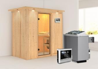 Karibu Sauna Variado 68mm Dachkranz Saunaofen 9kW extern classic Tür Bild 1