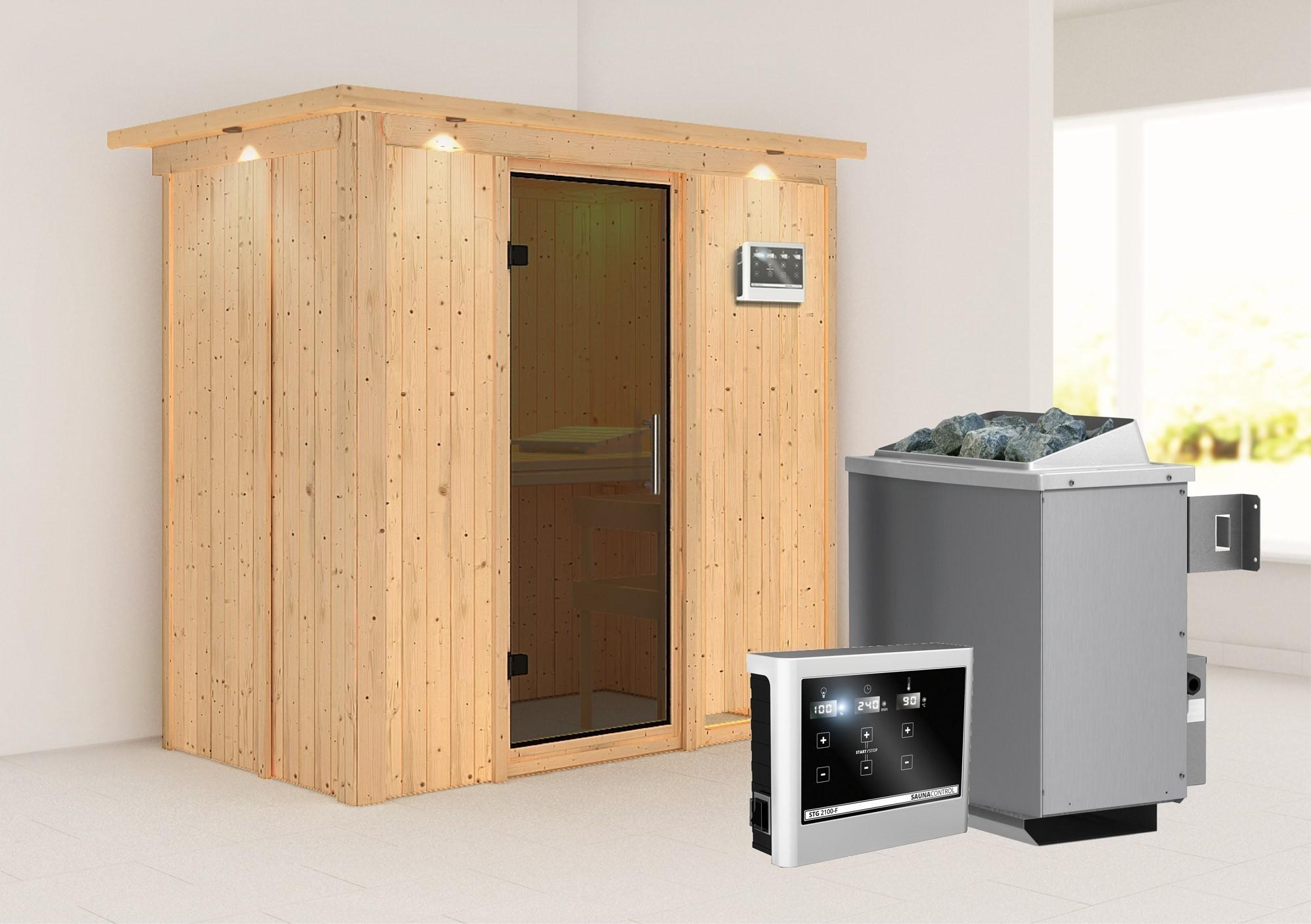 Karibu Sauna Variado 68mm Dachkranz Saunaofen 9kW extern moderne Tür Bild 1