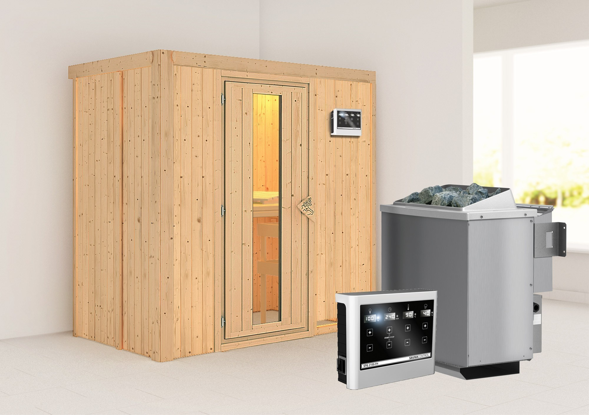 Karibu Sauna Variado 68mm mit Bio Saunaofen 9kW extern Holztür Bild 1