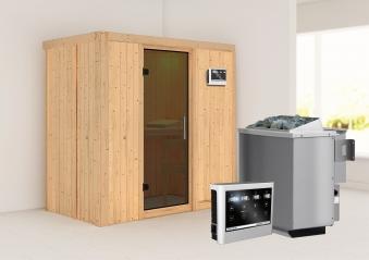 Karibu Sauna Variado 68mm mit Bio Saunaofen 9kW extern Tür Modern Bild 1