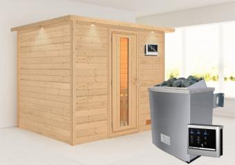Woodfeeling Sauna Karla 38mm Kranz Ofen 9kW extern Tür Holz Bild 1