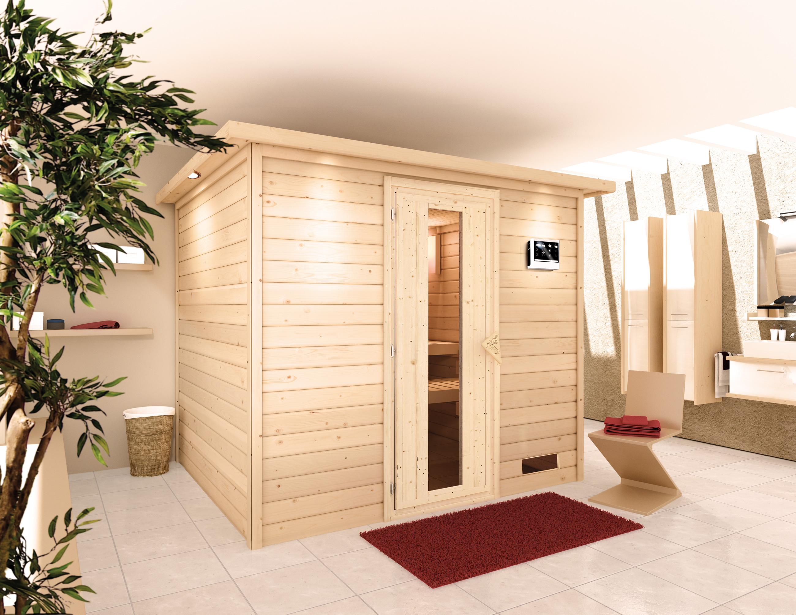 Woodfeeling Sauna Karla 38mm Kranz Ofen Bio 9kW Tür Holz Bild 13
