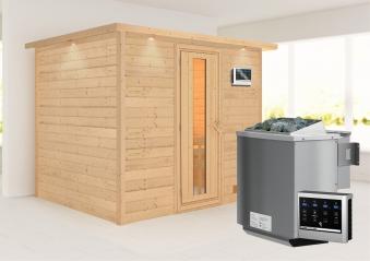 Woodfeeling Sauna Karla 38mm Kranz Ofen Bio 9kW Tür Holz Bild 1