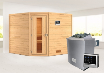 Woodfeeling Sauna Leona 38mm Ofen 9kW extern Tür Holz Bild 1
