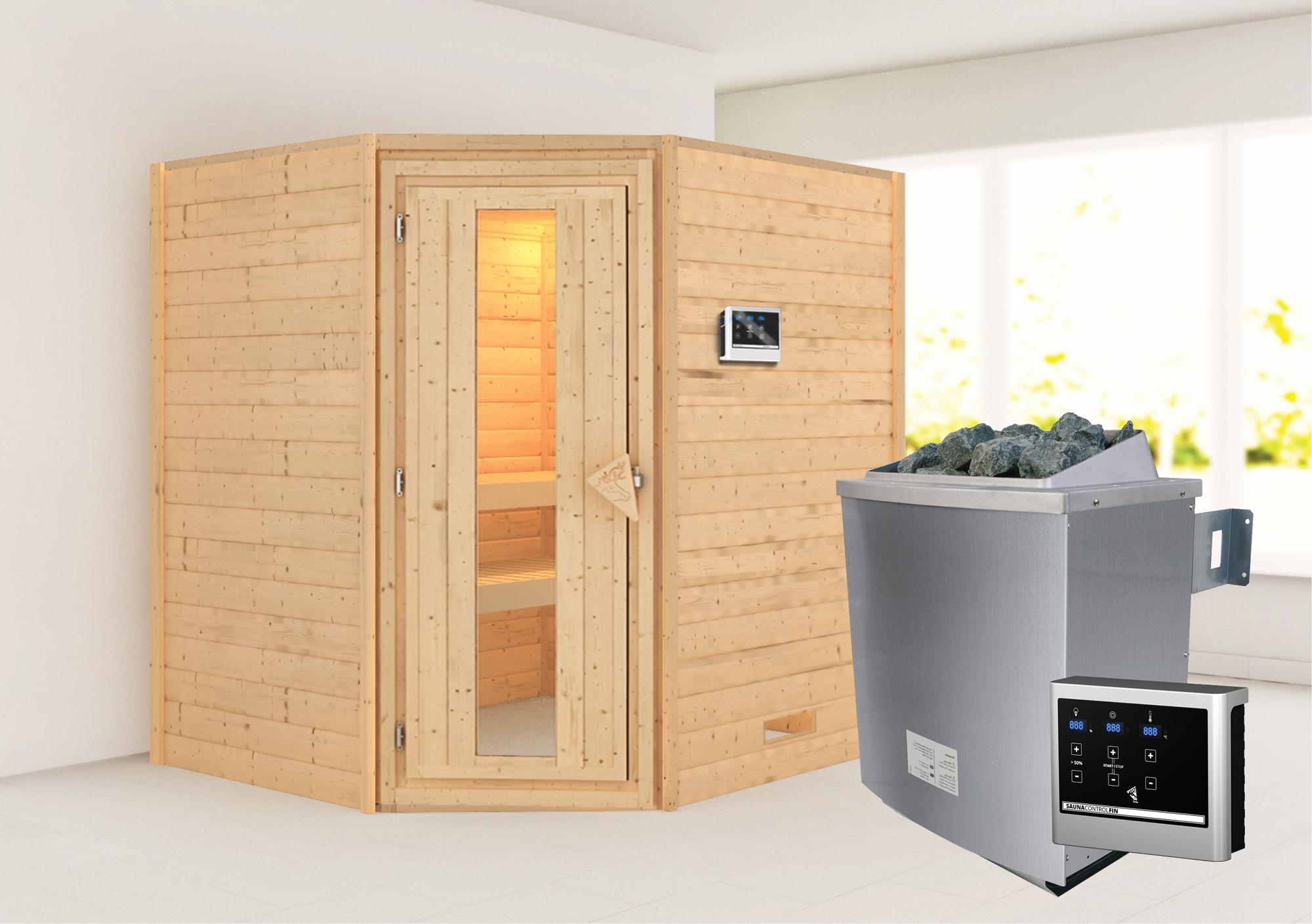 WoodFeeling Sauna Mia 38mm Saunaofen 9kW extern Holztür Bild 1