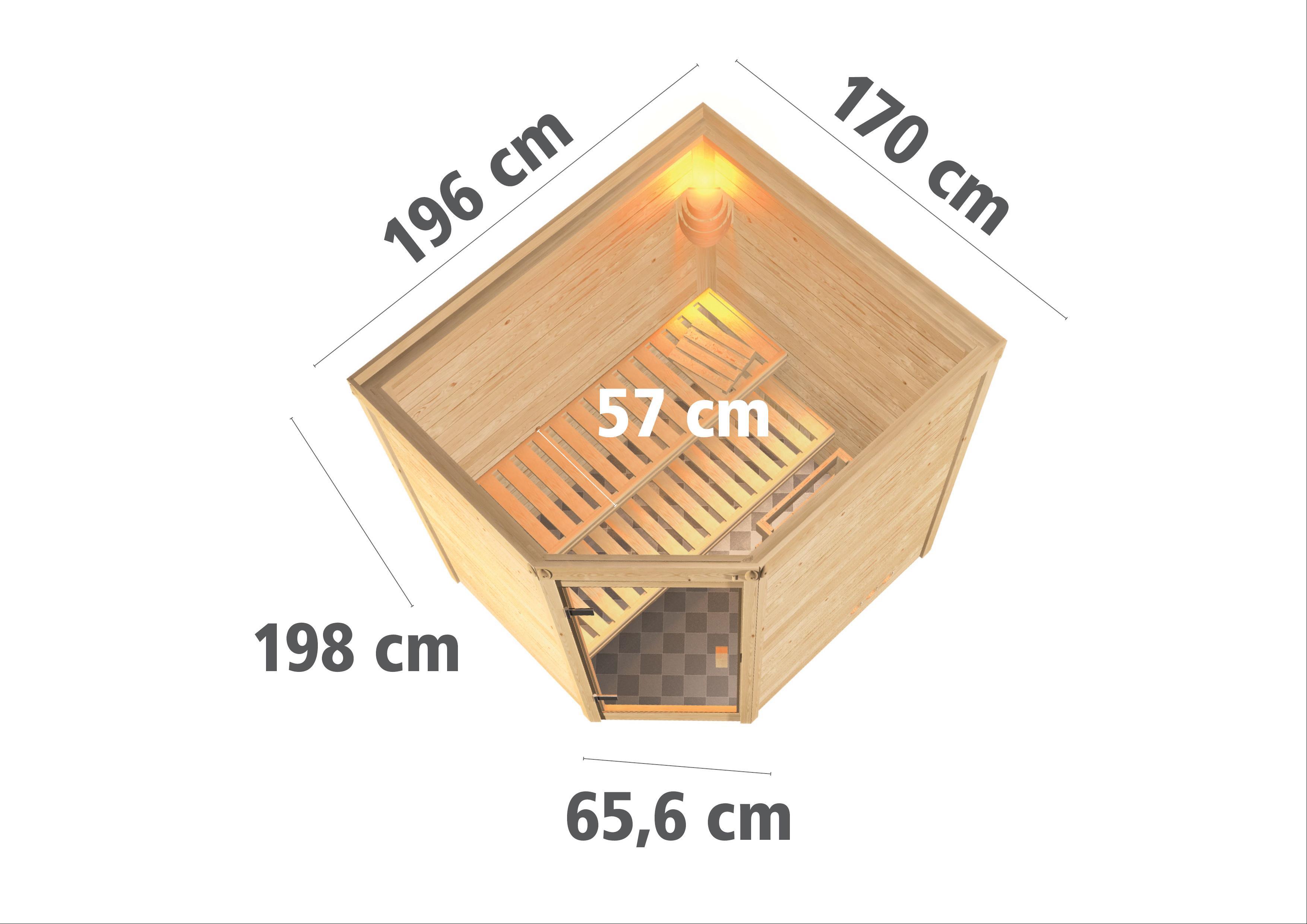 WoodFeeling Sauna Mia 38mm Saunaofen 9kW extern Holztür Bild 3