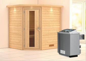 WoodFeeling Sauna Mia 38mm Saunaofen 9kW intern Kranz Holztür Bild 1