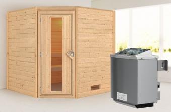 WoodFeeling Sauna Nina 38mm Saunaofen 9kW intern Holztür Bild 1