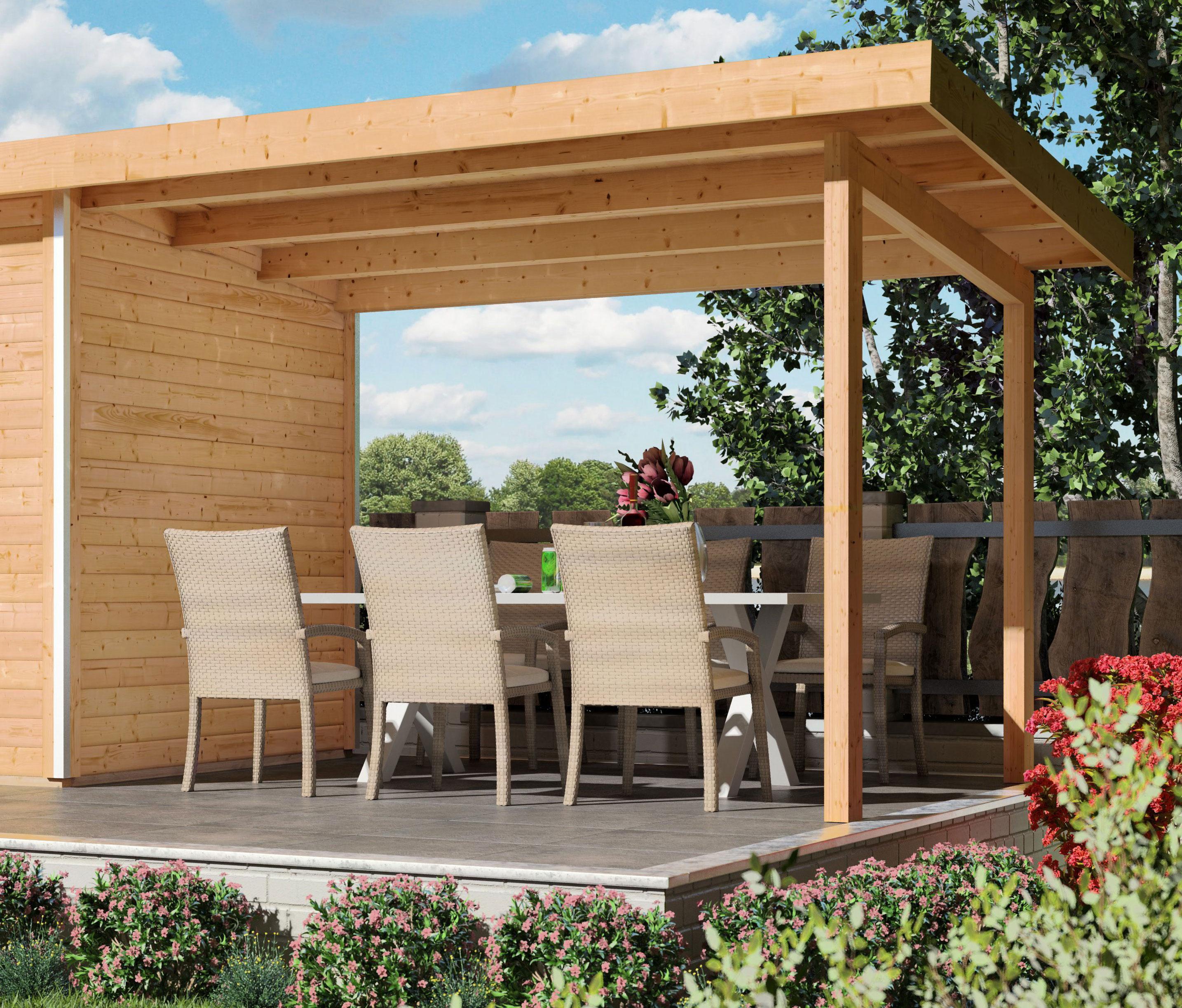 Schleppdach / Anbaudach WoodFeeling für Gartensauna Suva 2 und Suva 3 Bild 1
