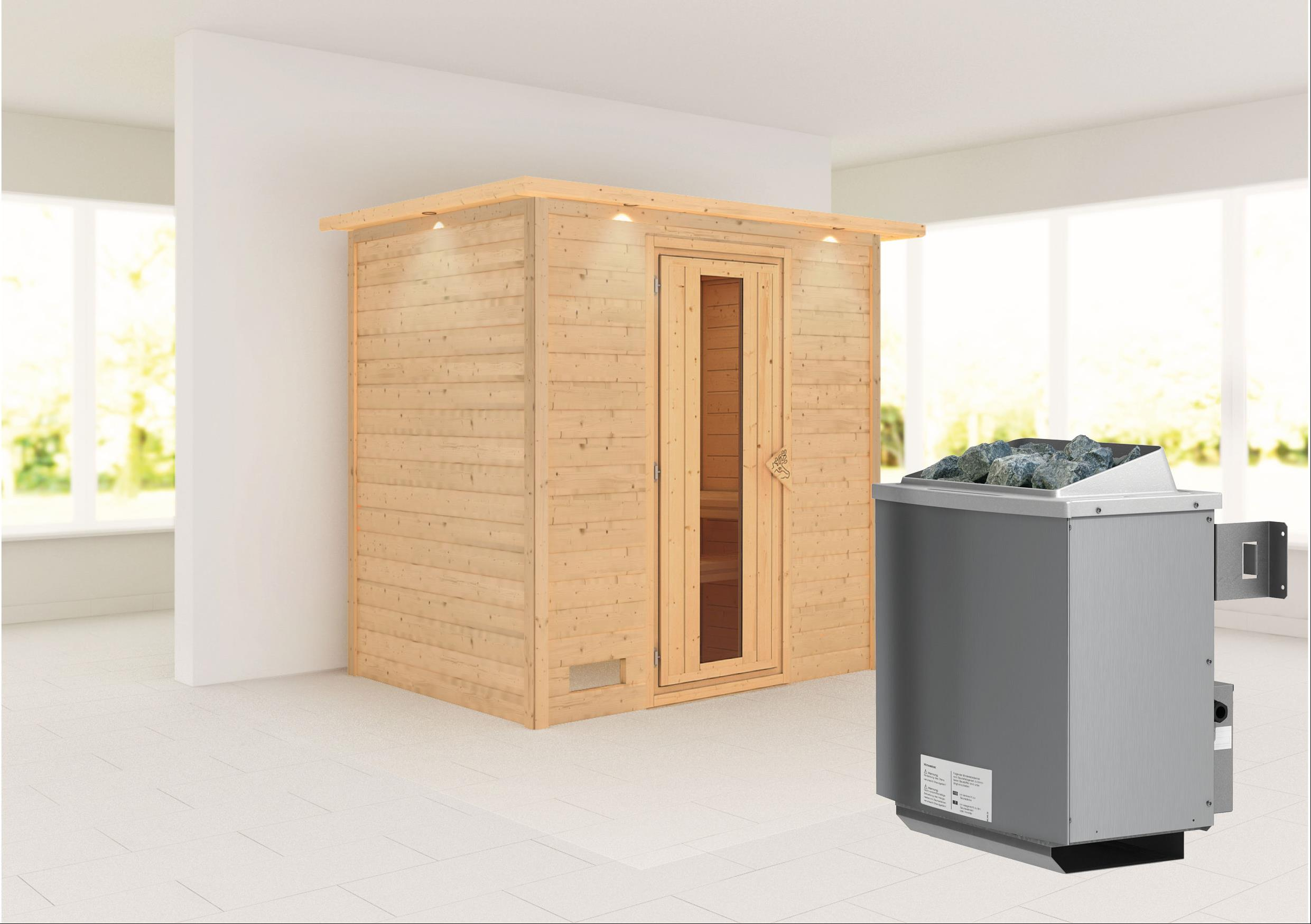 WoodFeeling Sauna Sonja 38mm Saunaofen 9 kW intern Dachkranz Holztür Bild 1