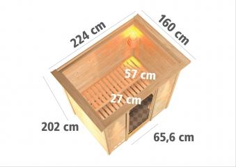 WoodFeeling Sauna Sonja 38mm Saunaofen 9 kW intern Dachkranz Holztür Bild 3