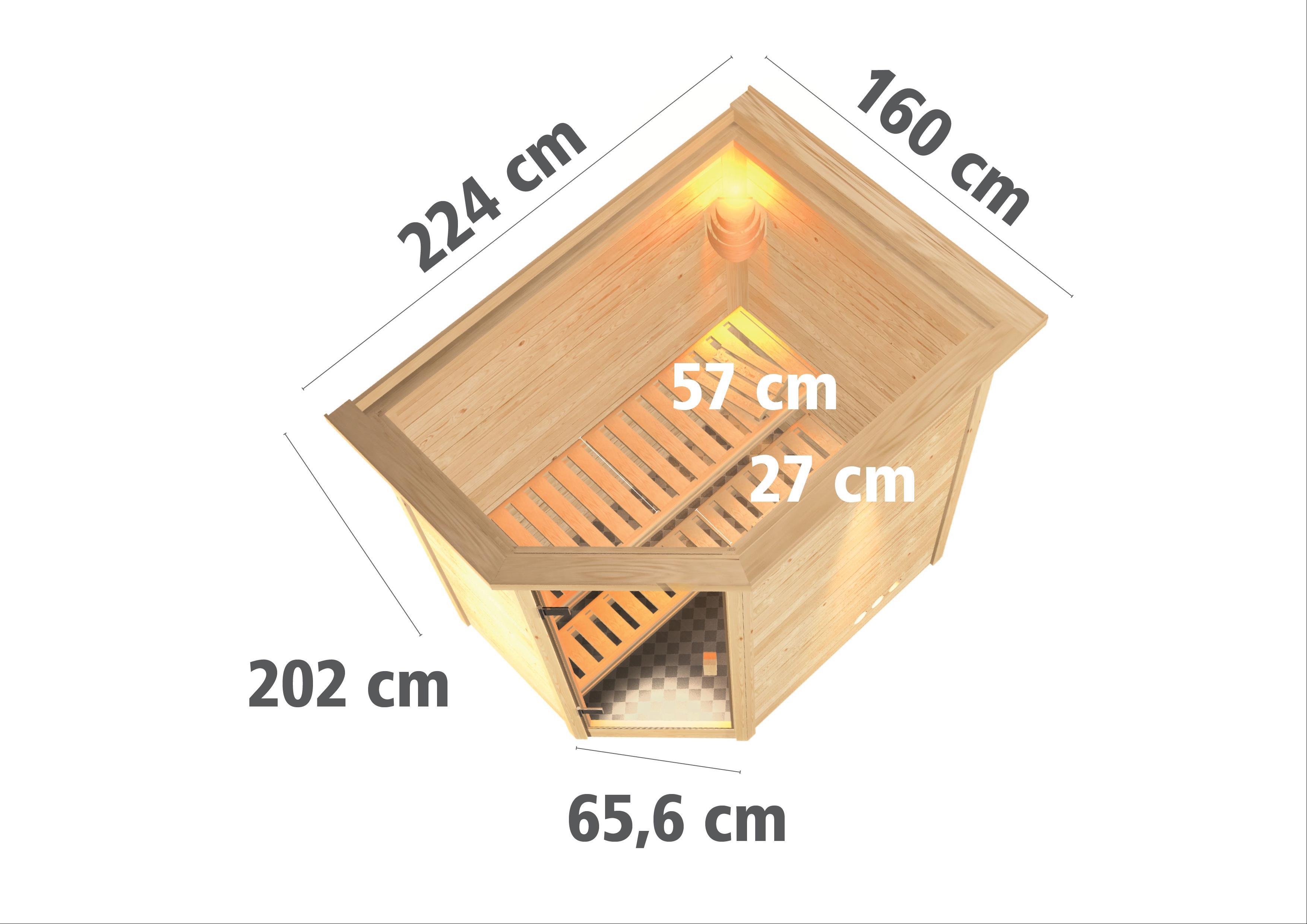 WoodFeeling Sauna Svea 38mm mit Saunaofen 9kW extern Dachkranz Holztür Bild 3