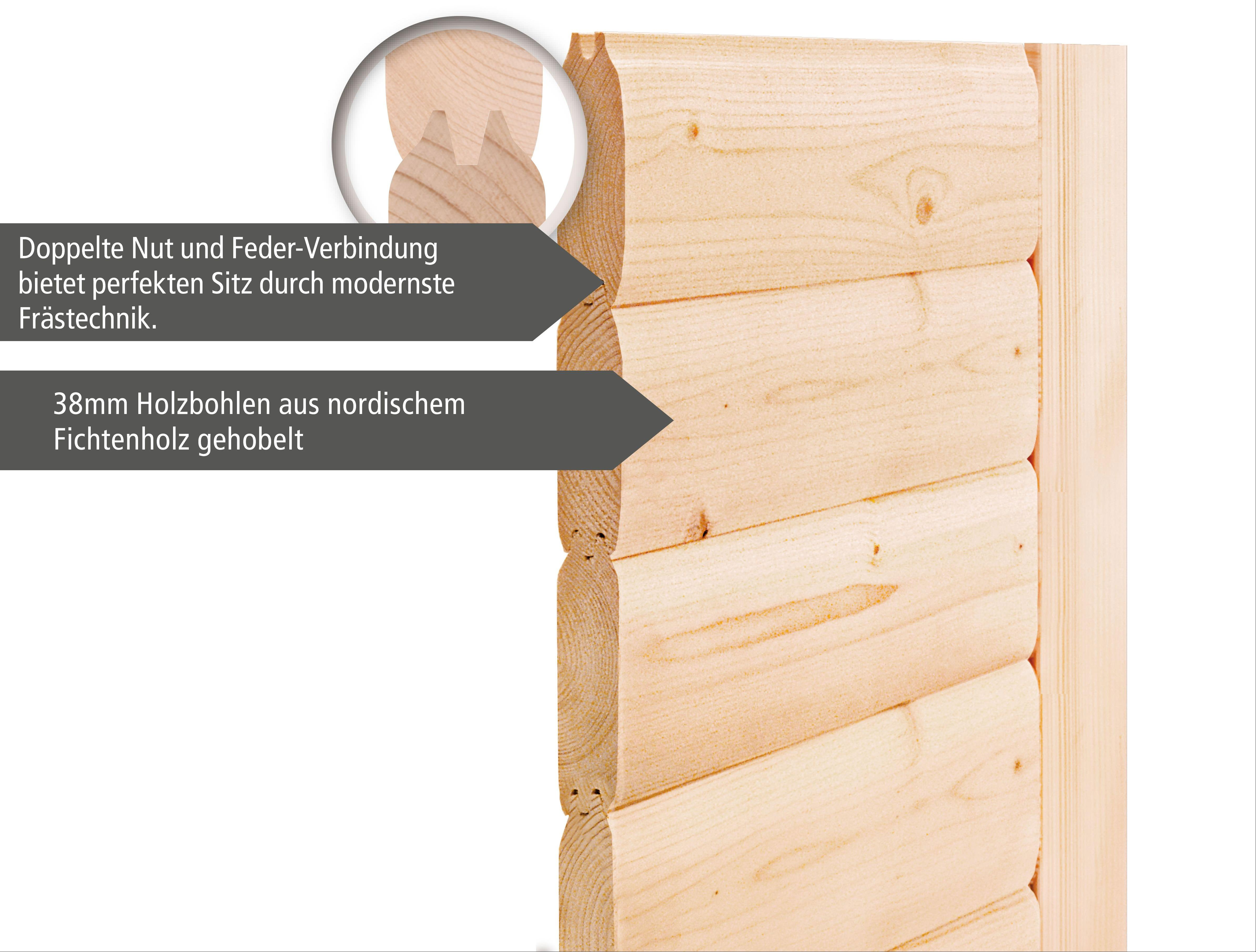 WoodFeeling Sauna Svea 38mm mit Saunaofen 9kW extern Dachkranz Holztür Bild 5