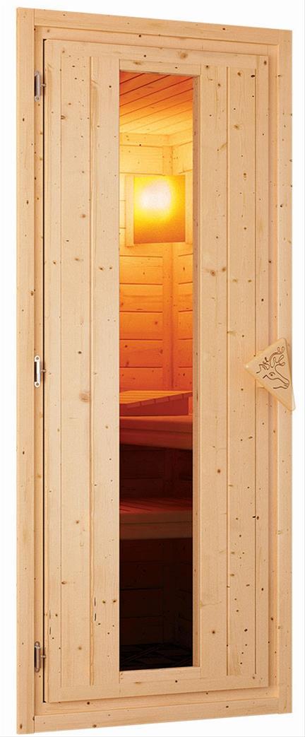WoodFeeling Sauna Svea 38mm mit Saunaofen 9kW extern Dachkranz Holztür Bild 6
