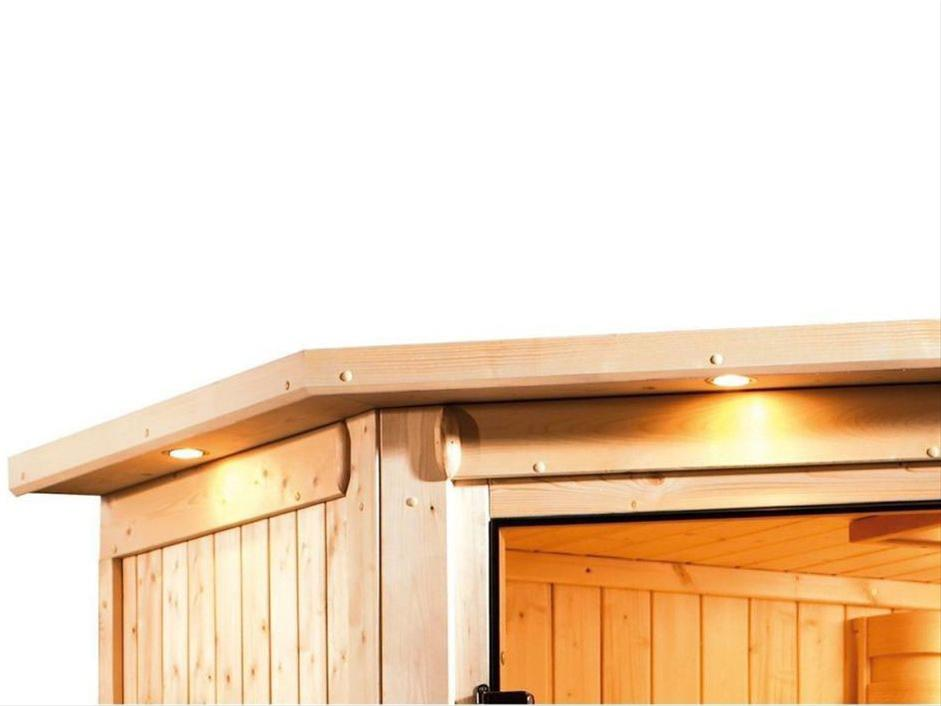 WoodFeeling Sauna Svea 38mm mit Saunaofen 9kW extern Dachkranz Holztür Bild 10