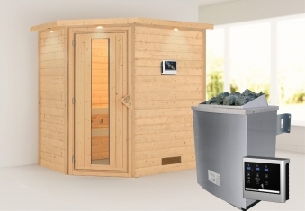 WoodFeeling Sauna Svea 38mm mit Saunaofen 9kW extern Dachkranz Holztür Bild 1