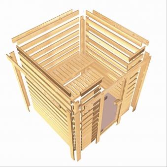 WoodFeeling Sauna Svea 38mm mit Saunaofen 9kW extern Dachkranz Holztür Bild 4