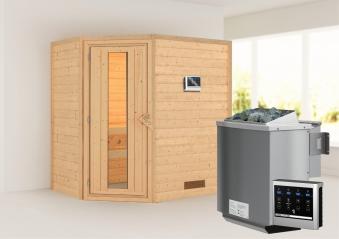 WoodFeeling Sauna Svea 38mm mit Bio Saunaofen 9 kW extern Holztür Bild 1
