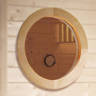 Weka Fenster / Rundfenster für Sauna aus 45mm Massivholz Bild 1