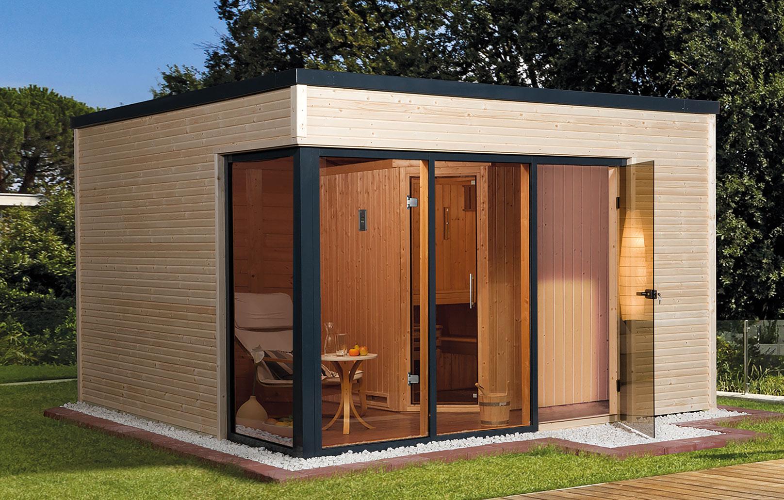 Weka Gartensauna / Design Saunahaus 45mm Cubilis ohne Saunaofen Bild 1