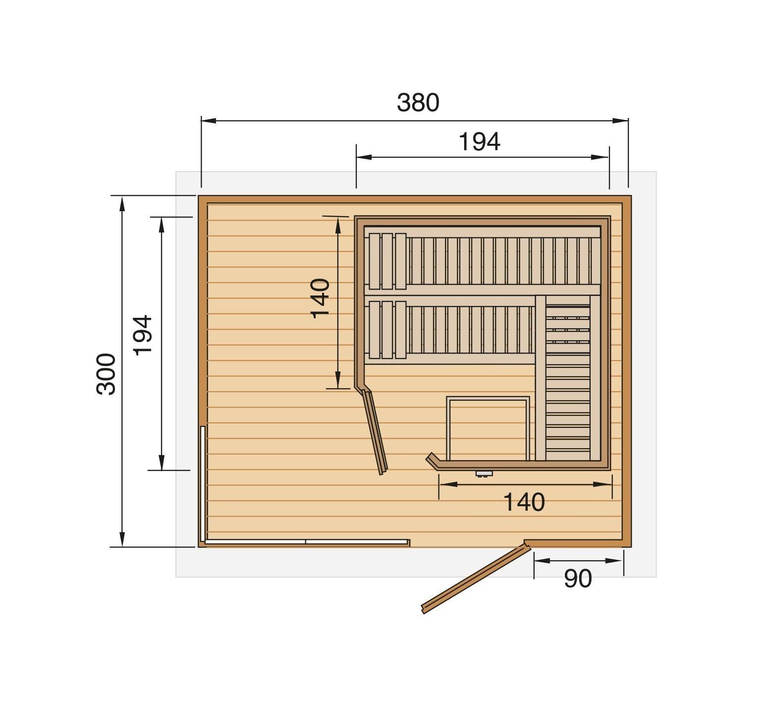 Weka Gartensauna / Design Saunahaus 45mm Cubilis ohne Saunaofen Bild 2