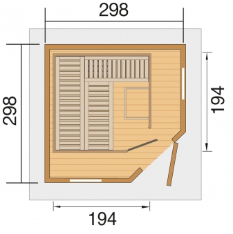 Weka Gartensauna / Saunahaus 28mm Kurikka ohne Saunaofen Bild 2