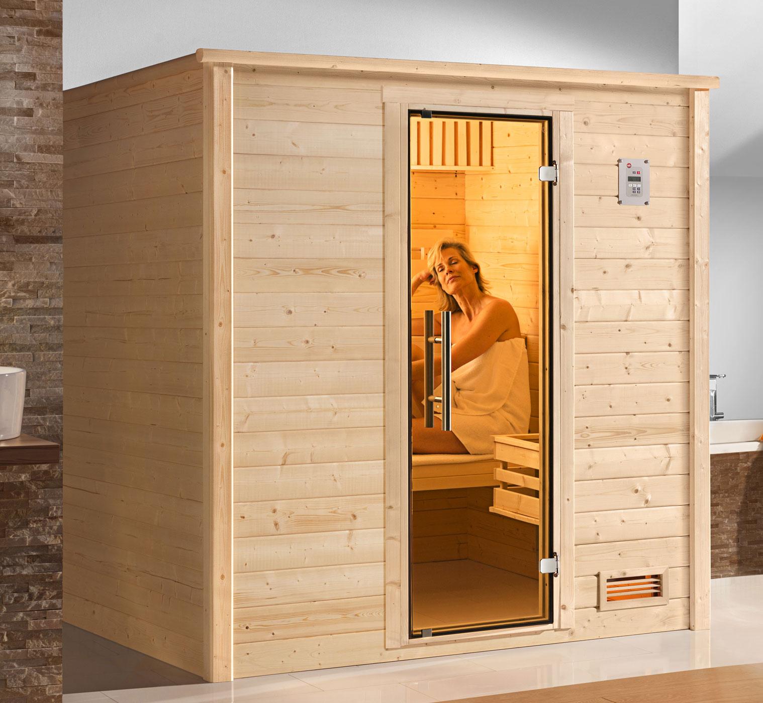 Weka Sauna Bergen 1 45mm ohne Ofen mit Glastür Bild 1