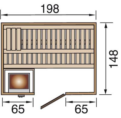 Weka Sauna Bergen 1 45mm ohne Ofen mit Holztür Bild 2