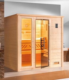 Weka Sauna Bergen 2 45mm ohne Saunaofen mit Premium Glanztür + Fenster Bild 1