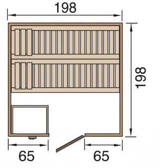 Weka Sauna Bergen 2 45mm ohne Saunaofen mit Premium Glanztür + Fenster Bild 2