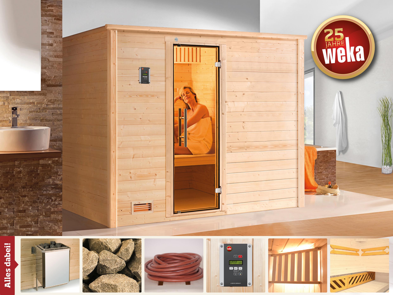 Weka Sauna Bergen 3 45mm Glastür + Family Sparset 1 7,5kW Ofen Bild 1