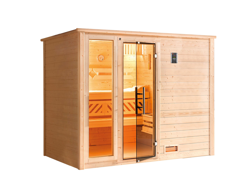 Weka Sauna Bergen 3 45mm Glastür/Fenster + Family Sparset 2 Bio SOfen Bild 5