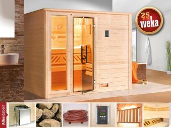 Weka Sauna Bergen 3 45mm Glastür/Fenster + Family Sparset 2 Bio SOfen Bild 1