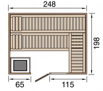 Weka Sauna Bergen 3 45mm Glastür/Fenster + Family Sparset 2 Bio SOfen Bild 2