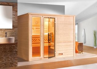Weka Sauna Bergen 3 45mm Glastür/Fenster + Family Sparset 2 Bio SOfen Bild 3
