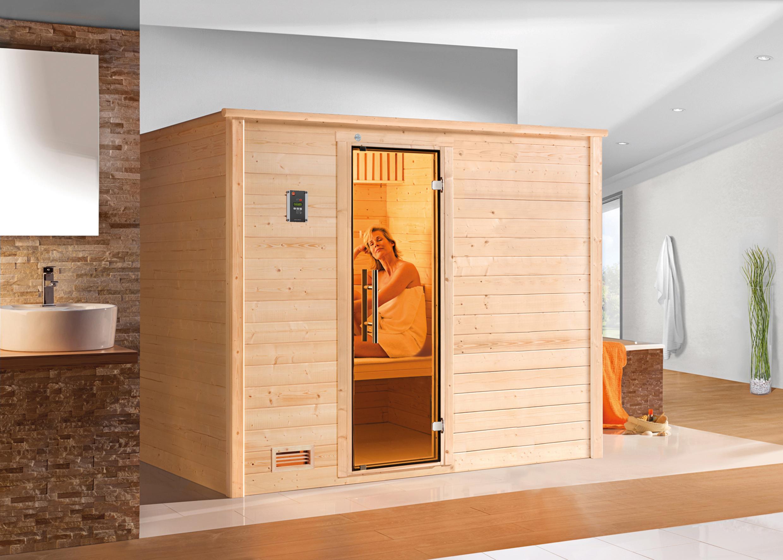 Weka Sauna Bergen 3 45mm mit Glastür + Family Sparset 2 Bio Saunaofen Bild 3