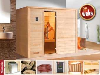Weka Sauna Bergen 3 45mm mit Glastür + Family Sparset 2 Bio Saunaofen Bild 1