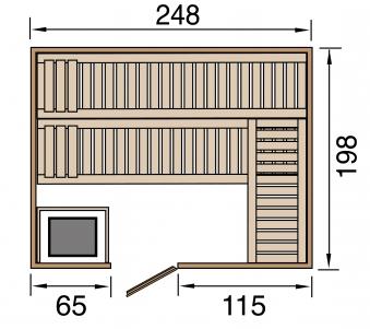 Weka Sauna Bergen 3 45mm mit Glastür + Family Sparset 2 Bio Saunaofen Bild 2
