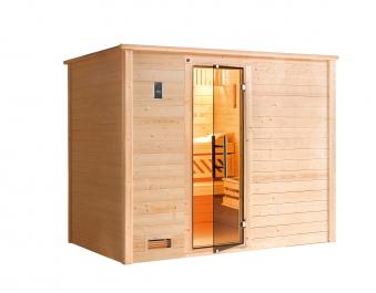 Weka Sauna Bergen 3 45mm mit Glastür + Family Sparset 2 Bio Saunaofen Bild 5