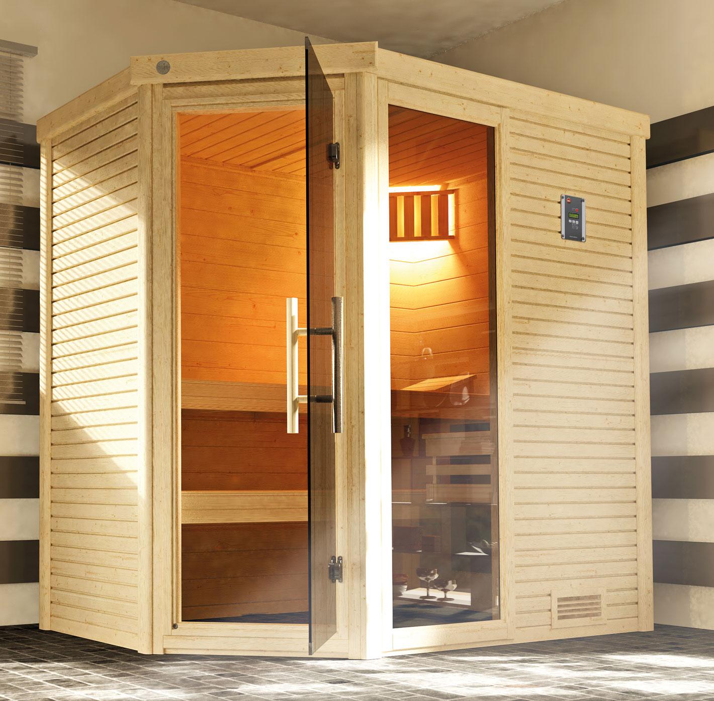 Weka Sauna Cubilis 1 45mm ohne Saunaofen + Leuchtenset + Prem.Glastür Bild 1
