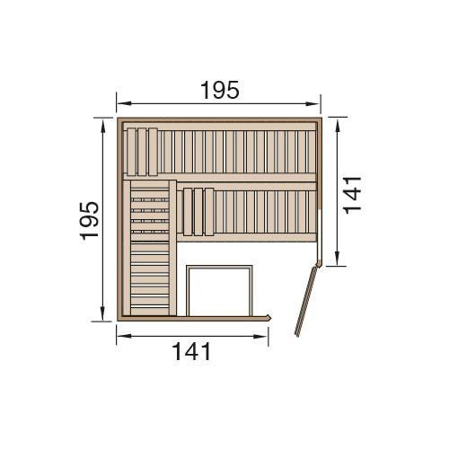 Weka Sauna Cubilis 2 45mm ohne Saunaofen + Leuchtenset + Prem.Glastür Bild 2