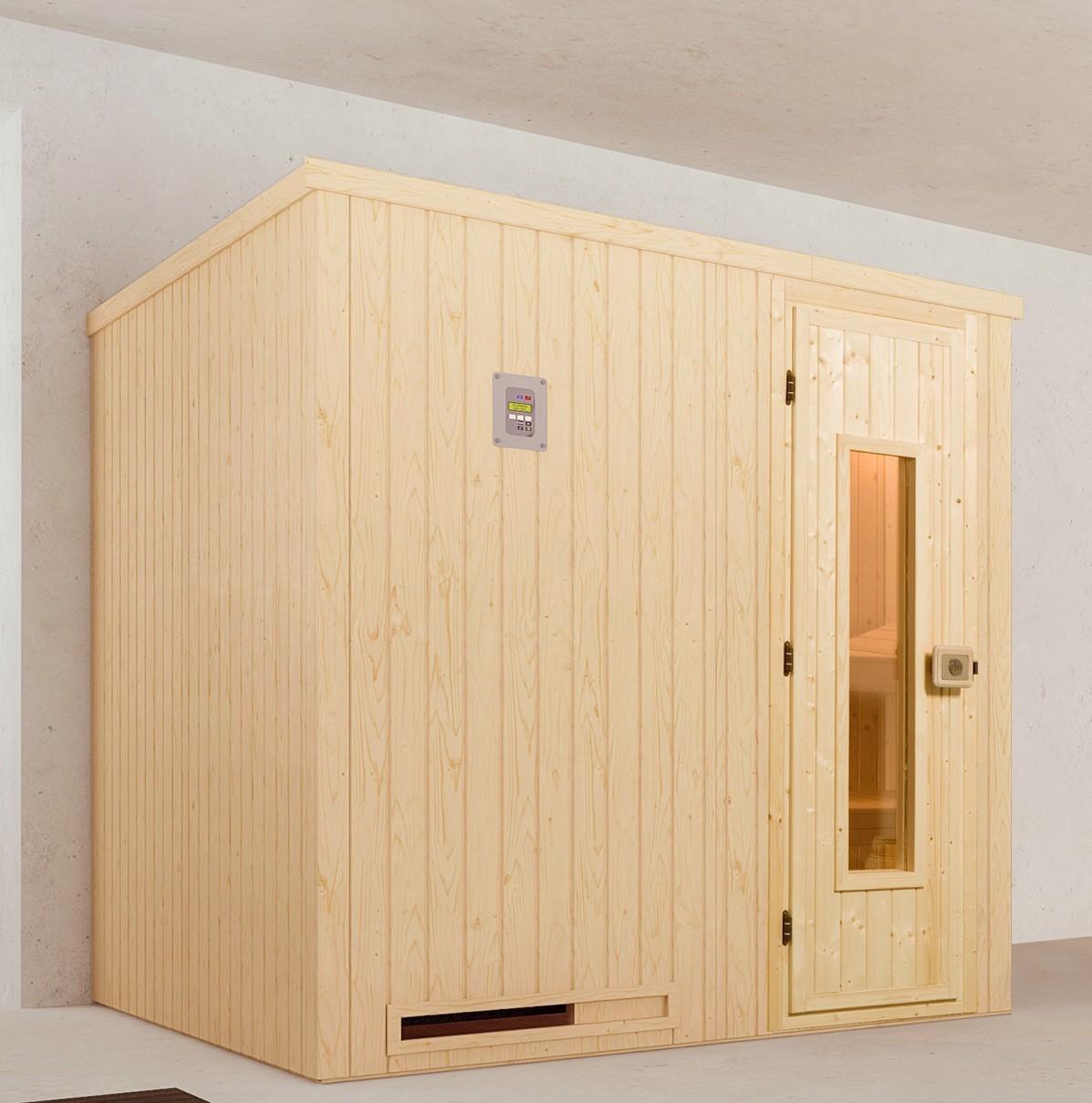 Weka Sauna Halmstad 2 68mm ohne Saunaofen mit Holztür Bild 1
