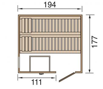Weka Sauna Halmstad 2 68mm ohne Saunaofen mit Holztür Bild 2