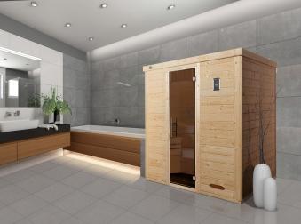 Weka Sauna Kemi 3 45mm ohne Saunaofen Glastür Bild 2