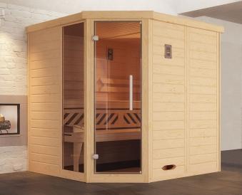 Weka Sauna Kemi Eck 1 45mm ohne Saunaofen +Komfort + Glastür +Fenster Bild 1