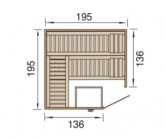 Weka Sauna Kemi Eck 1 45mm ohne Saunaofen +Komfort + Glastür +Fenster Bild 2