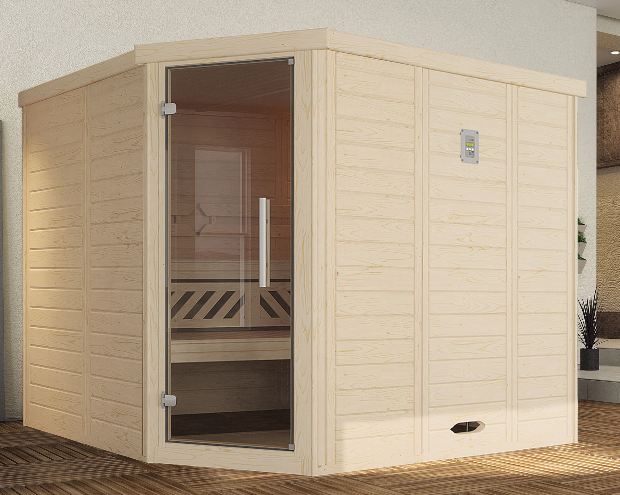 Weka Sauna Kemi Eck 2 45mm ohne Saunaofen + Komfortpaket + Glastür Bild 1