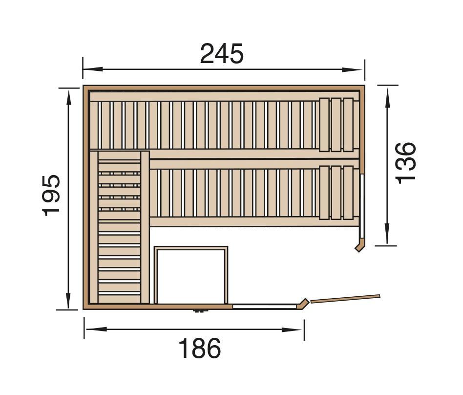 Weka Sauna Kemi Eck 2 45mm ohne Saunaofen + Komfortpaket + Glastür Bild 2